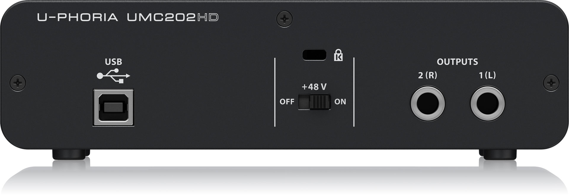 Behringer UMC202HD audio interface (rear)