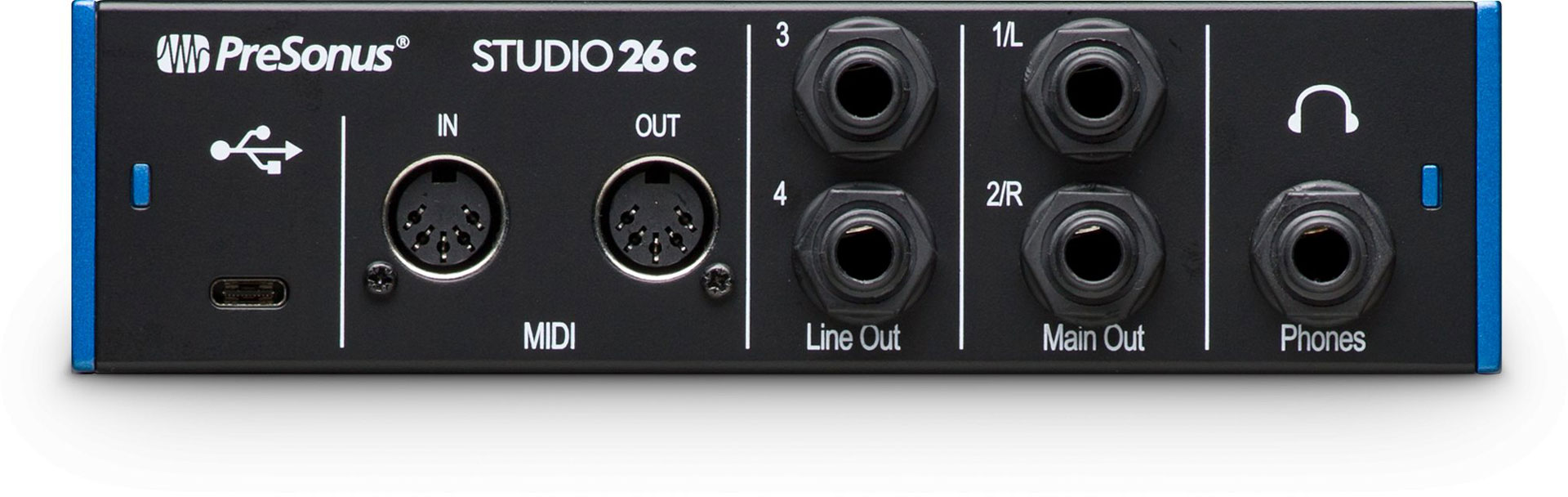 Presonus Studio 26c audio interface (rear)